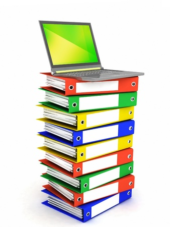 Colorful books next to a modern laptop Stock Photo - 12113816