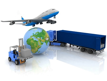 digital distribution: airliner with a globe and autoloader with boxes