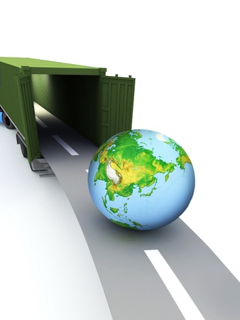 Container with open doors and a globe. We offer international transportation. Stock Photo - 12113644