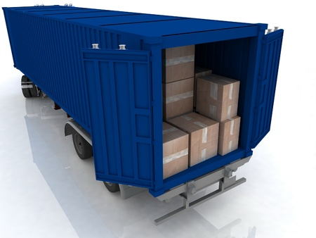 big wheel: container of truck with boxes  on white Stock Photo