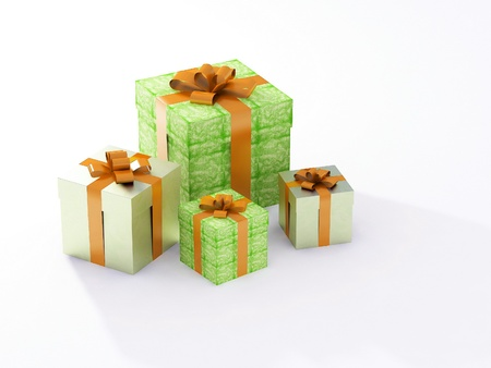 beautiful gift boxes on a white background Stock Photo - 12114434