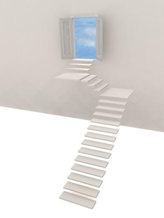 3d illustration of stairway and door to heaven Stock Illustration - 12113425