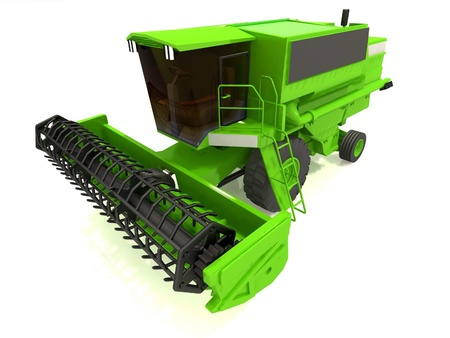 Green agricultural combine-harvester photo