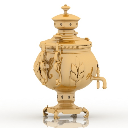 Old golden samovar isolated on a white background Stock Photo - 12113473