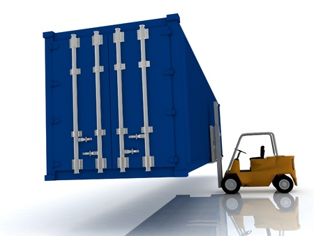 loader lifts container photo