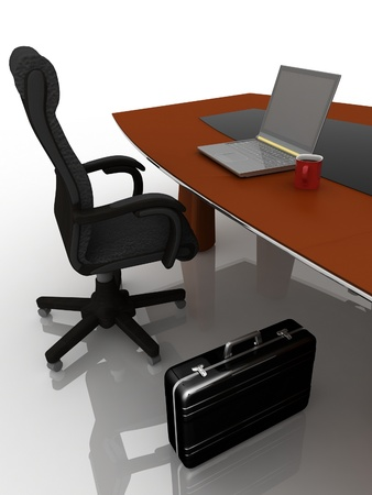trabajo: workplace at the table for negotiations Stock Photo
