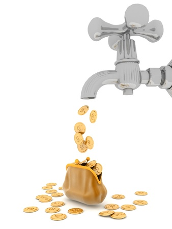 cash flows: EURO coins flows from tap