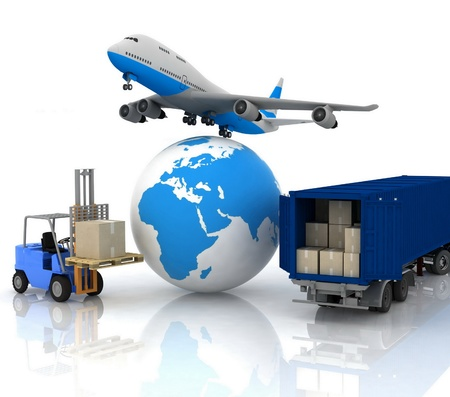 airliner with a globe and autoloader with boxes Stock Photo - 12113795