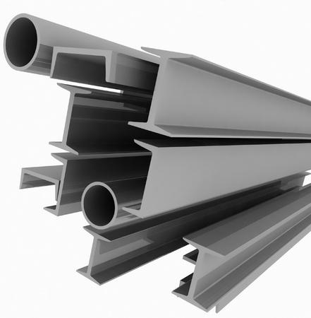 burnish: High technology background - steel profiles Stock Photo