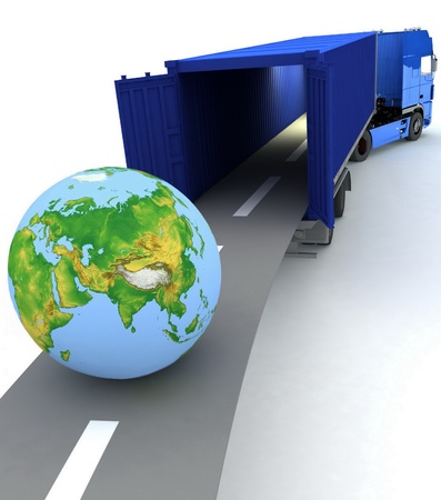 truck on highway: Container with open doors and a globe. We offer international transportation.