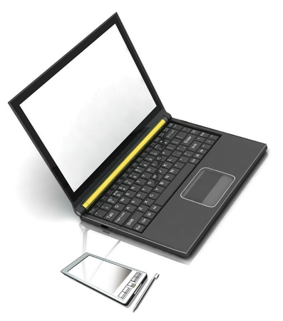 pocket pc: 3D rendering of isolated pocket pc and laptop on white background Stock Photo