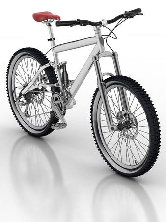 palanca de cambios: Bicicletas aisladas sobre fondo blanco con la reflexi�n