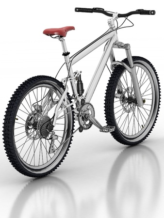Bicycle isolated on white background with reflection photo