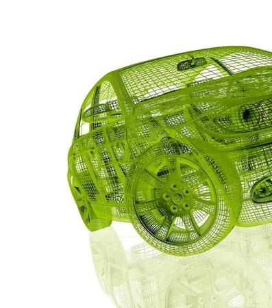 Car-model op een witte achtergrond met bezinning