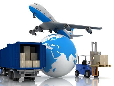 airliner met een wereldbol en autoloader met dozen in een container