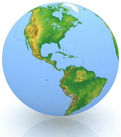 earth globe on white background photo