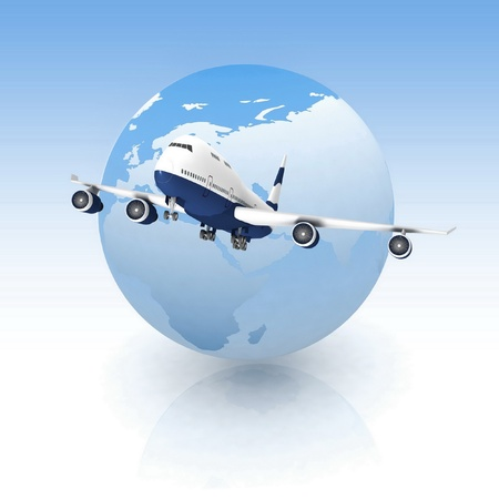 airliner with a globe in the blue background photo