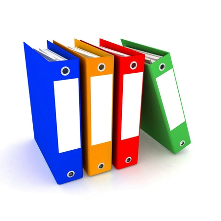 folders for papers a white background photo