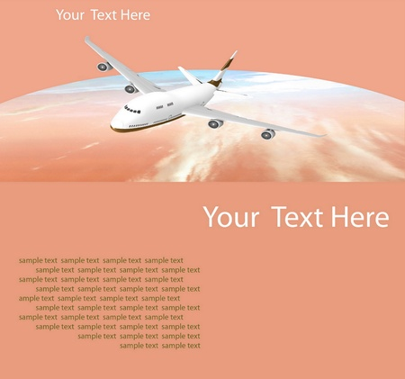 Picture of airplane on the orange background Stock Photo - 12113828