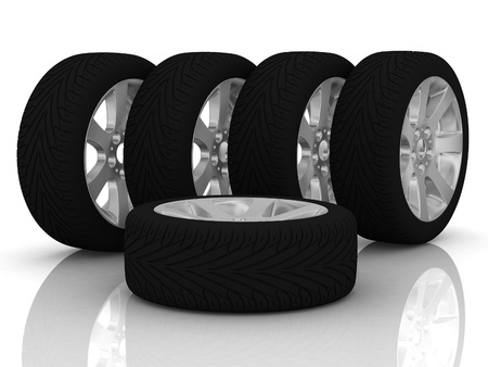 New wheels isolated on white background photo
