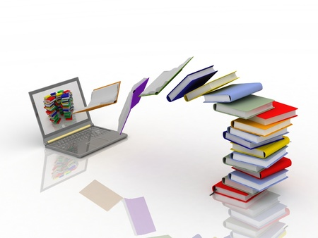 books fly into your laptop Stock Photo - 12135154