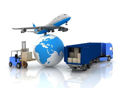 freight: airliner with a globe and autoloader with boxes