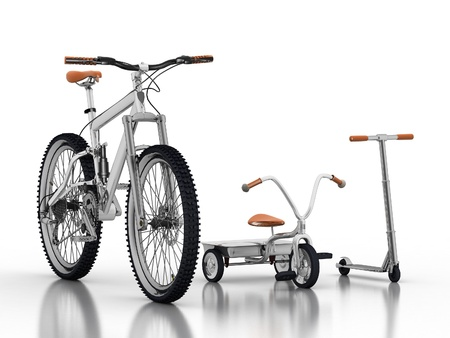 racing bike: racing bike with a childrens bikes and scooters