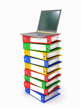 Colorful books next to a modern laptop Stock Photo - 12135129