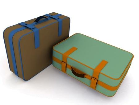 Suitcases isolated on white background Stock Photo - 12135224