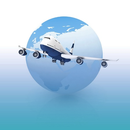 airliner with a globe in the background photo
