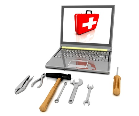 communication tools: The monitor with the complete set of tools for repair