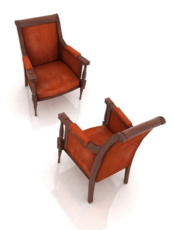 Close up view of the old elbow-chairs photo
