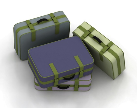 Suitcases isolated on white background Stock Photo - 12135206