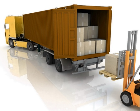 warehouse equipment: Loading of boxes is isolated in a container on a white background