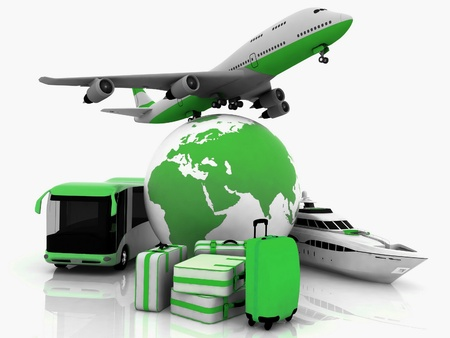 types of transport tourist liners with earth and suitcases Stock Photo - 12230858