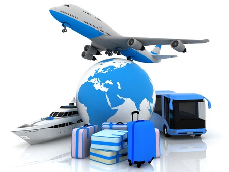 logo voyage: types de revêtements de transport avec un globe terrestre et valises