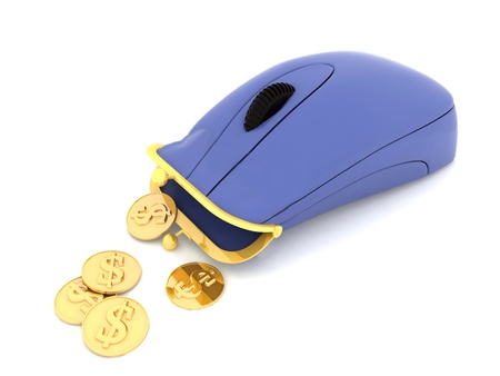 Hybrid of computer mouse and purse. Example of object for earning of money photo