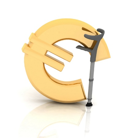 depreciation: sign of euro, supported by a crutch, over white background