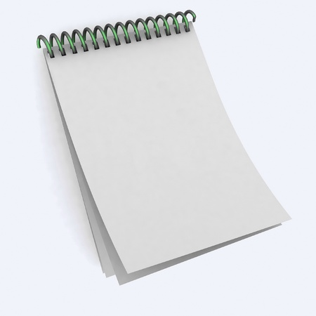 A blank spiral notebook on a white background photo