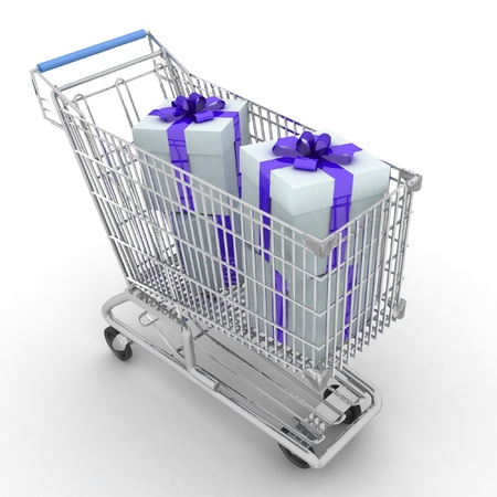 The silvery store cart full of gifts Stock Photo - 12231014