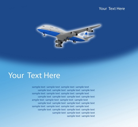 picture of airplane on the blue background photo