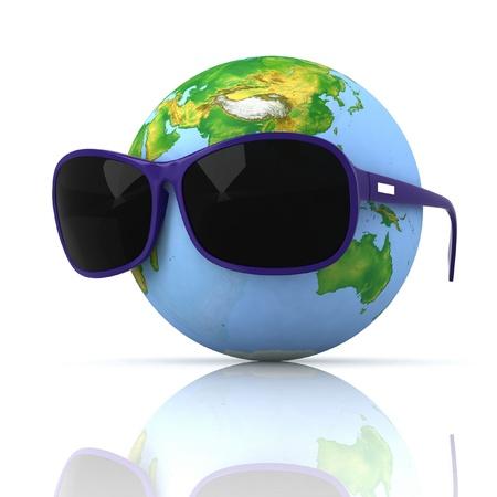 protective eyewear: Globe is in dark eyeglasses