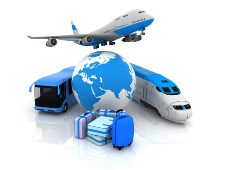 het verkeer bronnen met een wereldbol en koffers
