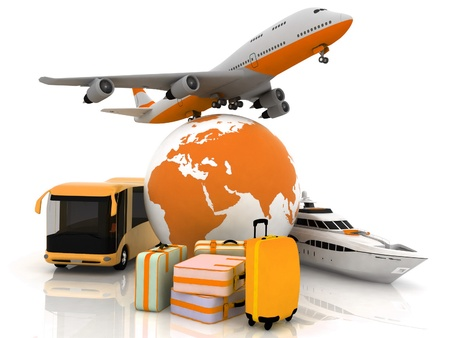luggage:  types of transport liners with a globe and luggage Stock Photo