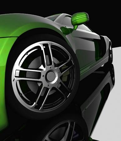 Closeup of wheels of machine on black background photo