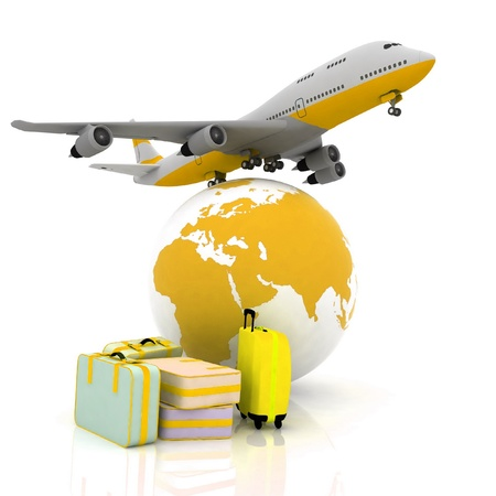commercial painting: airliner and suitcases with a globe in the background