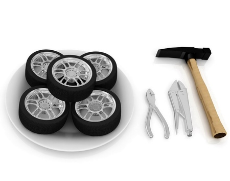 service and repair wheels Stock Photo - 12406075