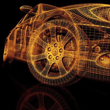 motor coche: Los coches del modelo 3D Foto de archivo
