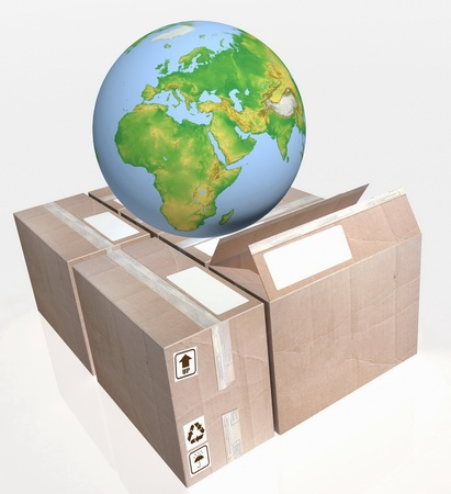 terra: 3D-rendering of a globe on cartons Stock Photo
