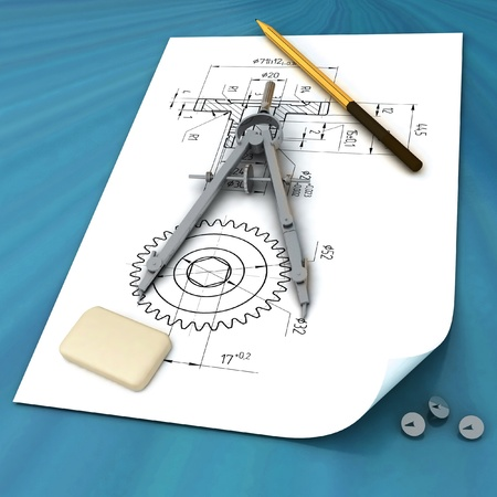 elastic: elastic, pencil, compasses and draft on the surface of table